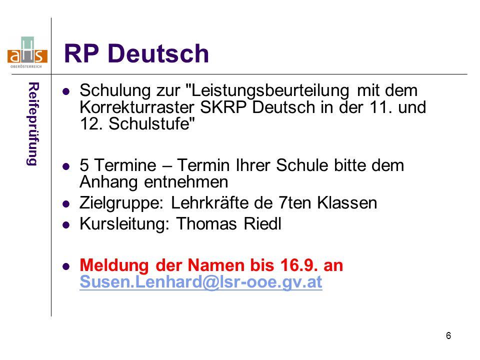 7 Deutsch Aufgabenstellungen - Analysetool Übersendung der Reifeprüfungsaufgabenstellungen Deutsch aus dem Haupttermin 2012/13 Da Aufgabenstellungen sind recht unterschiedlich konzipiert sind, soll ein Überblick gewonnen werden, in welchem Ausmaß die Kompetenzorientierung in den Aufgabenstellungen Richtung SKRP angewendet wird.