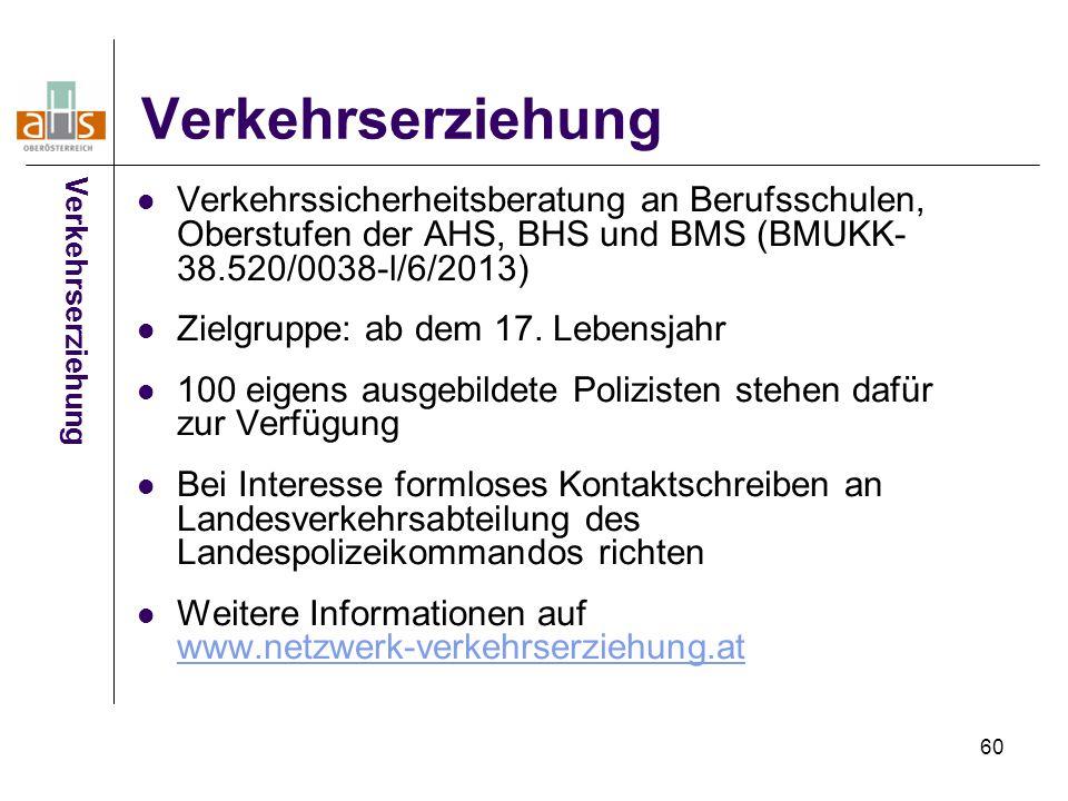 60 Verkehrserziehung Verkehrssicherheitsberatung an Berufsschulen, Oberstufen der AHS, BHS und BMS (BMUKK- 38.520/0038-l/6/2013) Zielgruppe: ab dem 17