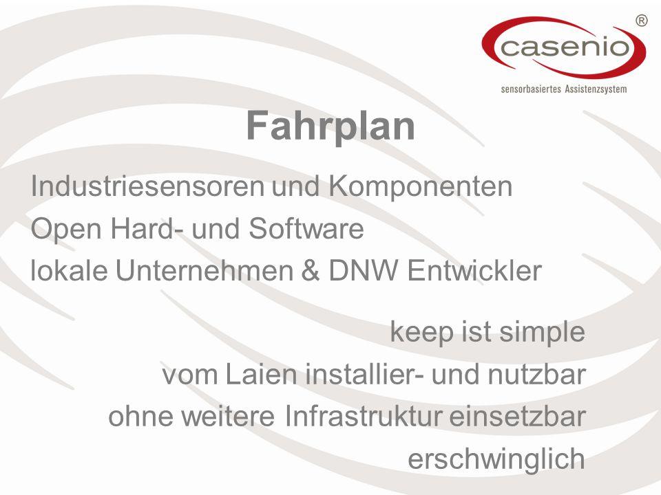 Fahrplan Industriesensoren und Komponenten Open Hard- und Software lokale Unternehmen & DNW Entwickler keep ist simple vom Laien installier- und nutzbar ohne weitere Infrastruktur einsetzbar erschwinglich