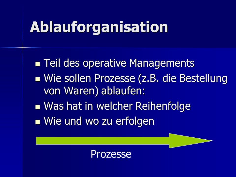 Ablauforganisation Teil des operative Managements Teil des operative Managements Wie sollen Prozesse (z.B. die Bestellung von Waren) ablaufen: Wie sol
