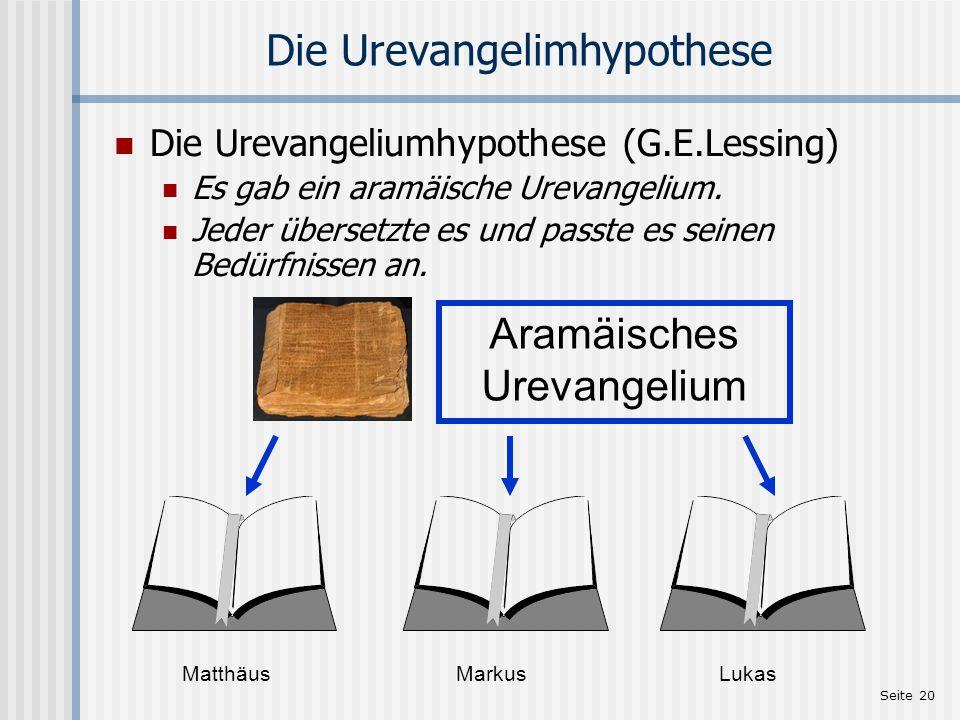 Seite 20 Die Urevangelimhypothese Die Urevangeliumhypothese (G.E.Lessing) Es gab ein aramäische Urevangelium. Jeder übersetzte es und passte es seinen