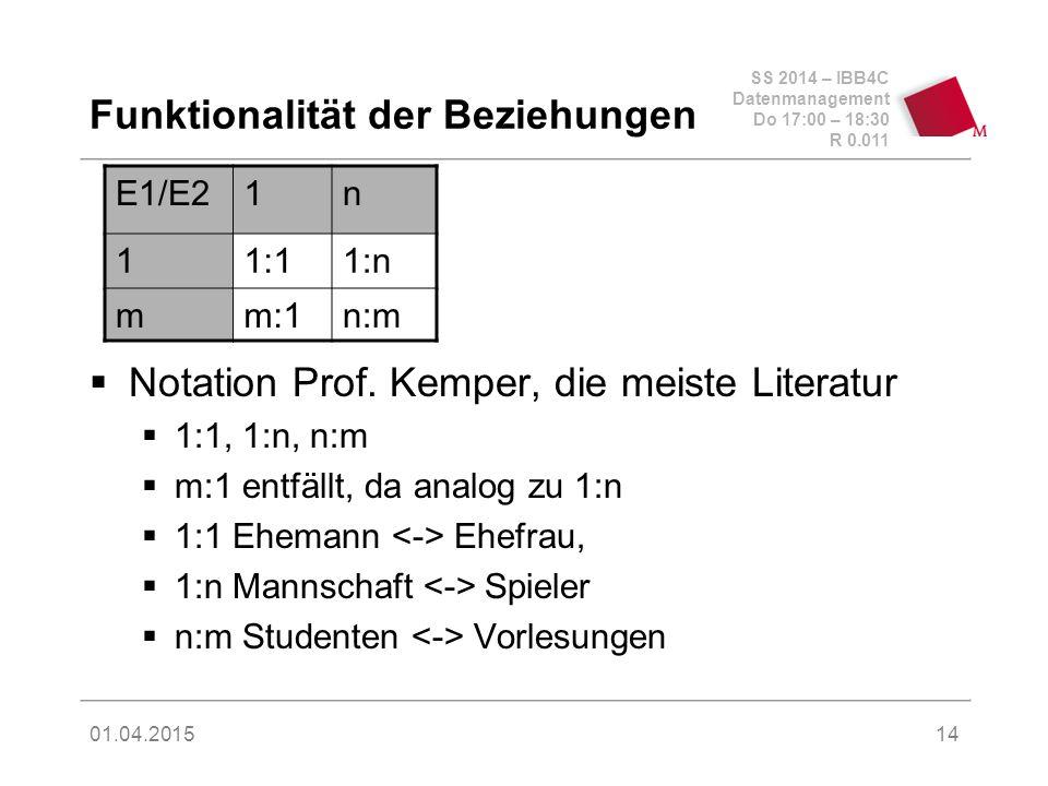 SS 2014 – IBB4C Datenmanagement Do 17:00 – 18:30 R 0.011 01.04.2015 Funktionalität der Beziehungen  Notation Prof. Kemper, die meiste Literatur  1:1