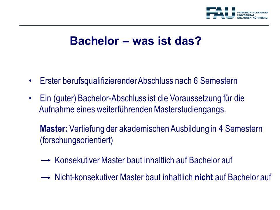 Erster berufsqualifizierender Abschluss nach 6 Semestern Ein (guter) Bachelor-Abschluss ist die Voraussetzung für die Aufnahme eines weiterführenden M
