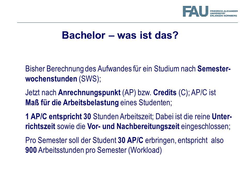 Bachelor – was ist das? Bisher Berechnung des Aufwandes für ein Studium nach Semester- wochenstunden (SWS); Jetzt nach Anrechnungspunkt (AP) bzw. Cred