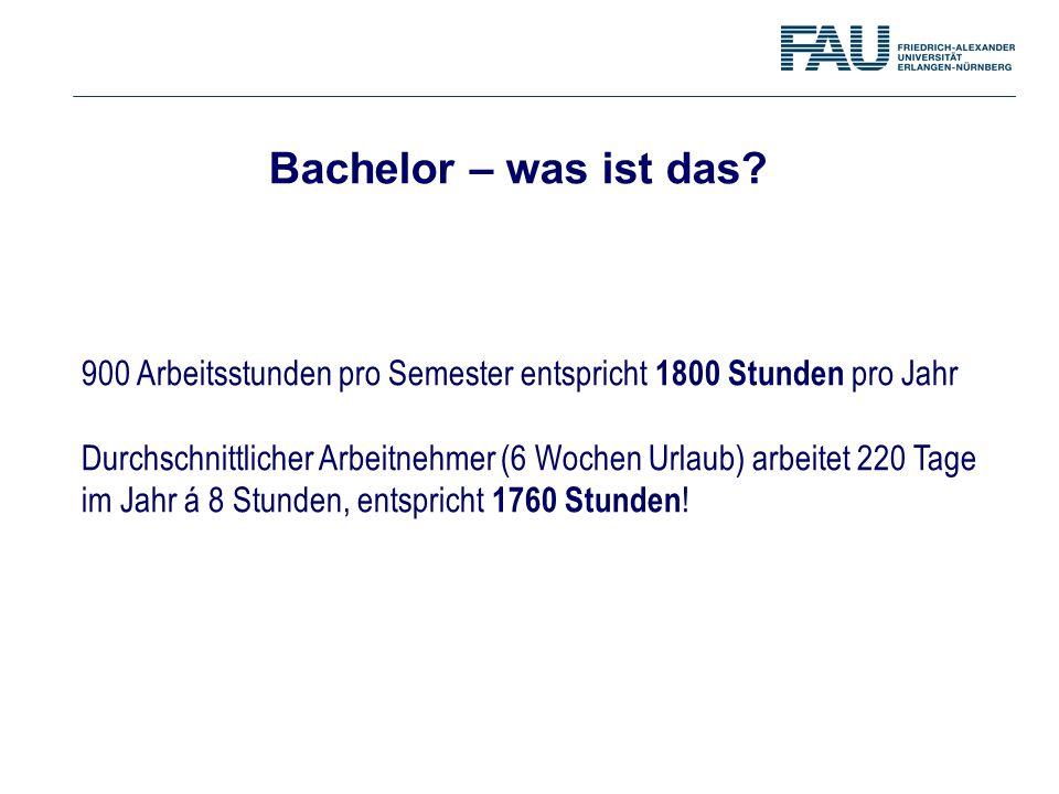 Bachelor – was ist das? 900 Arbeitsstunden pro Semester entspricht 1800 Stunden pro Jahr Durchschnittlicher Arbeitnehmer (6 Wochen Urlaub) arbeitet 22