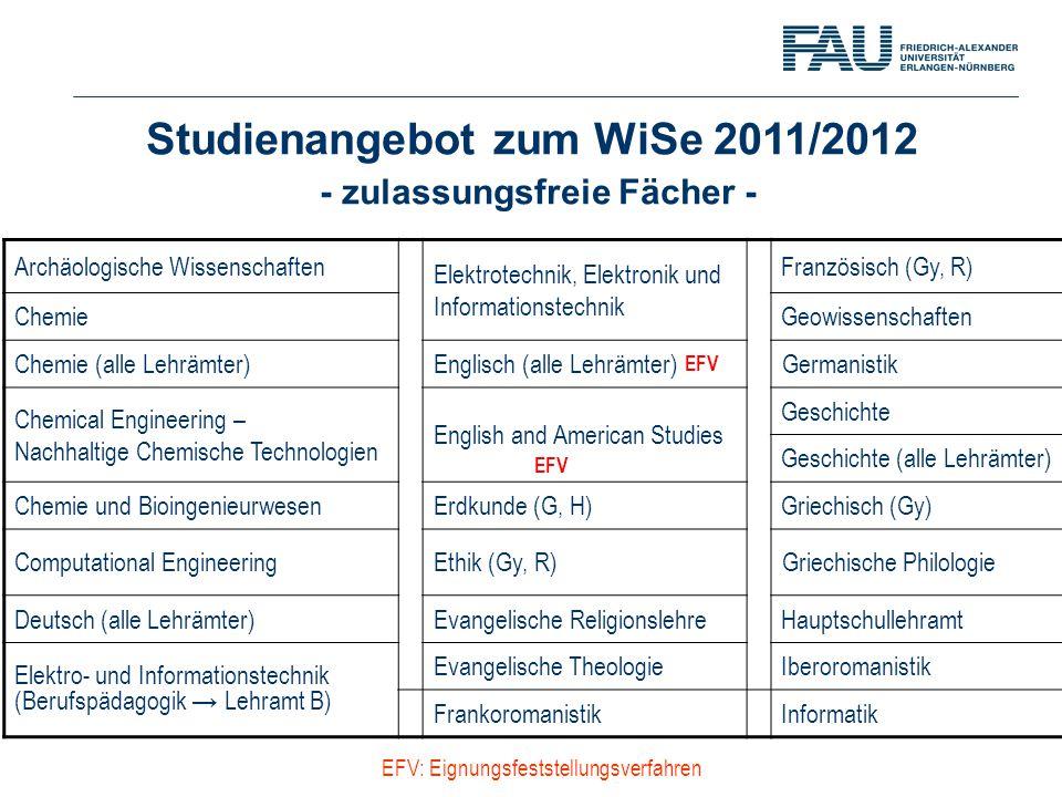 Studienangebot zum WiSe 2011/2012 - zulassungsfreie Fächer - Archäologische Wissenschaften Elektrotechnik, Elektronik und Informationstechnik Französi