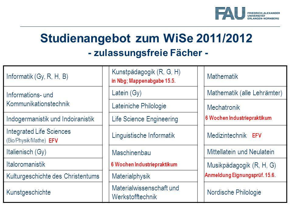 Studienangebot zum WiSe 2011/2012 - zulassungsfreie Fächer - Informatik (Gy, R, H, B) Kunstpädagogik (R, G, H) Mathematik Informations- und Kommunikat