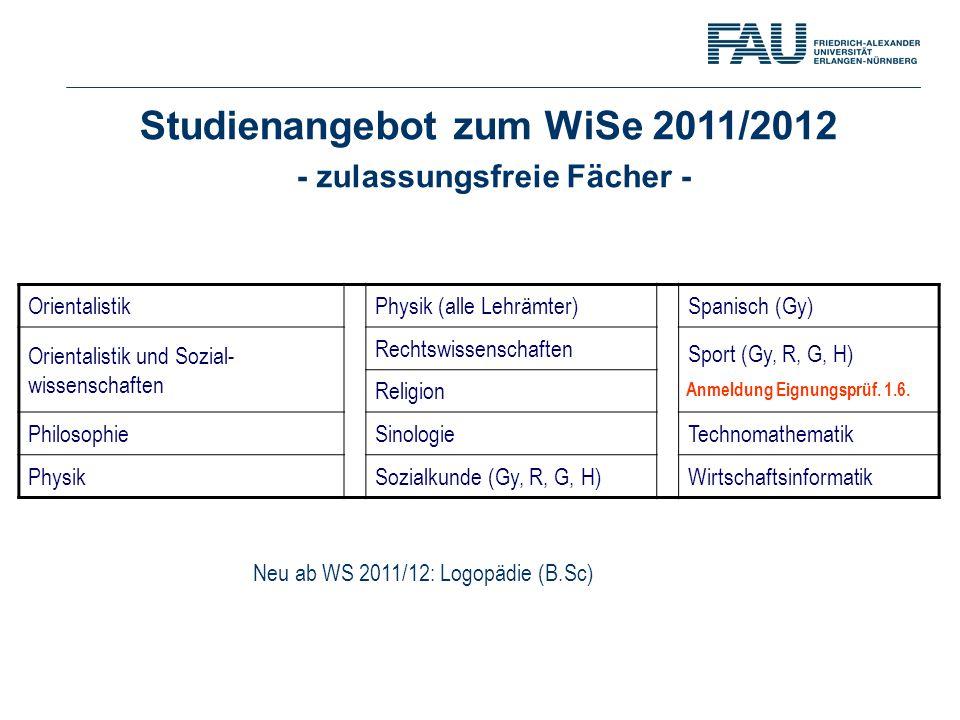 Studienangebot zum WiSe 2011/2012 - zulassungsfreie Fächer - OrientalistikPhysik (alle Lehrämter)Spanisch (Gy) Orientalistik und Sozial- wissenschafte