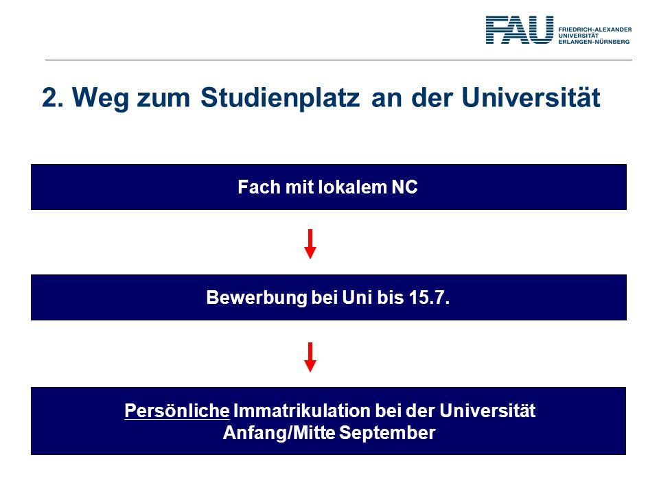 Bewerbung bei Uni bis 15.7. Persönliche Immatrikulation bei der Universität Anfang/Mitte September Fach mit lokalem NC 2. Weg zum Studienplatz an der