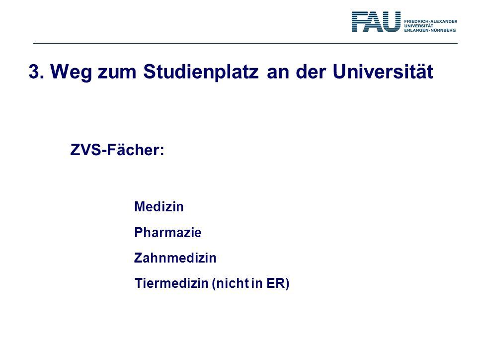 Medizin Pharmazie Zahnmedizin Tiermedizin (nicht in ER) ZVS-Fächer: 3. Weg zum Studienplatz an der Universität