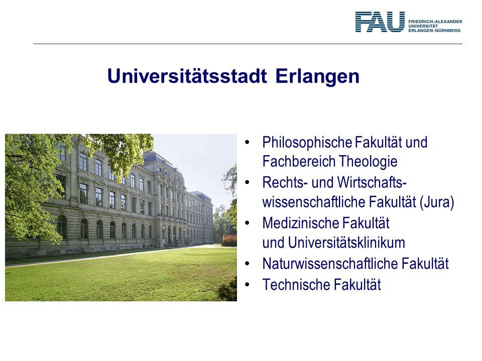 Universitätsstadt Erlangen Philosophische Fakultät und Fachbereich Theologie Rechts- und Wirtschafts- wissenschaftliche Fakultät (Jura) Medizinische F