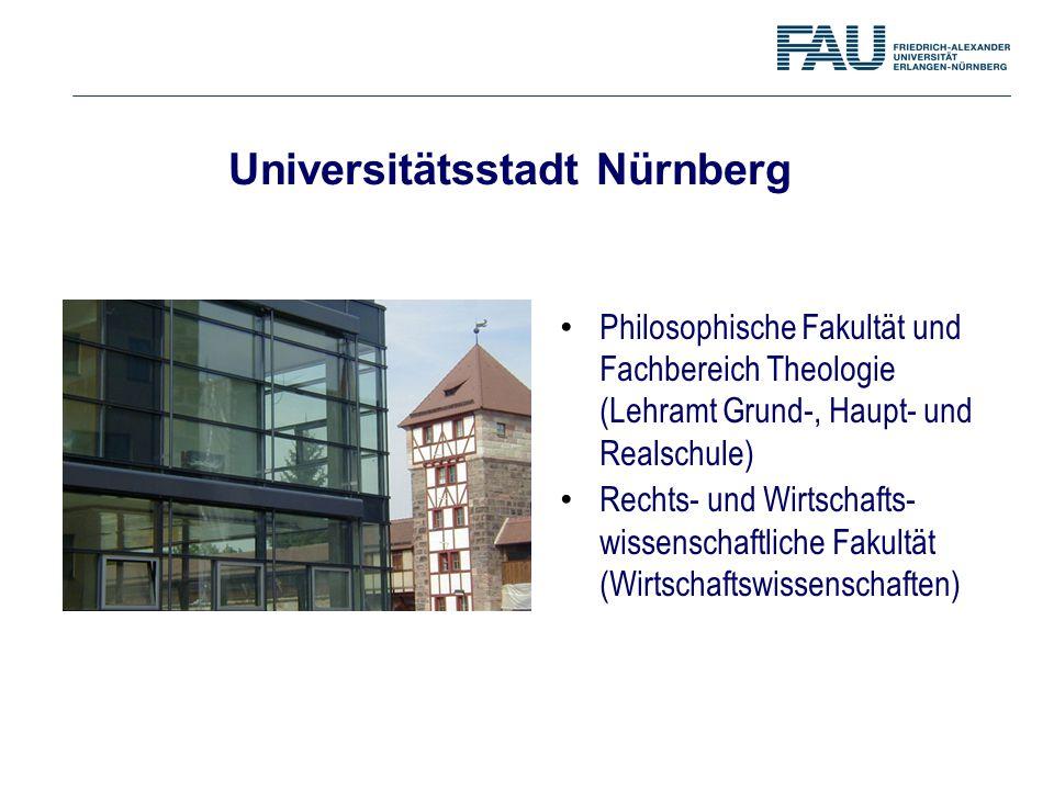 Universitätsstadt Nürnberg Philosophische Fakultät und Fachbereich Theologie (Lehramt Grund-, Haupt- und Realschule) Rechts- und Wirtschafts- wissensc