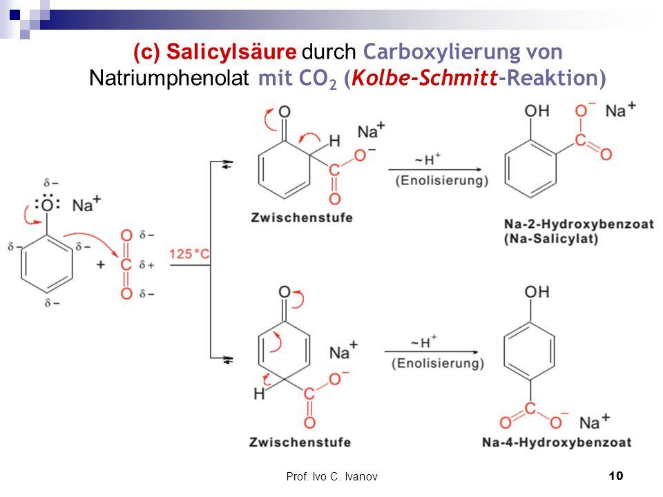 Prof. Ivo C. Ivanov10 (c) Salicylsäure durch Carboxylierung von Natriumphenolat mit CO 2 (Kolbe-Schmitt-Reaktion)
