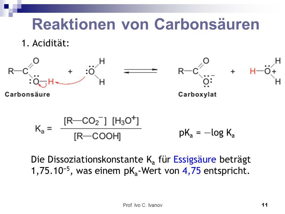 Prof. Ivo C. Ivanov11 Reaktionen von Carbonsäuren 1. Acidität: pK a = —log K a Die Dissoziationskonstante K a für Essigsäure beträgt 1,75.10 −5, was e