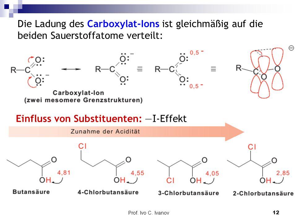 Prof. Ivo C. Ivanov12 Die Ladung des Carboxylat-Ions ist gleichmäßig auf die beiden Sauerstoffatome verteilt: Einfluss von Substituenten: — I -Effekt