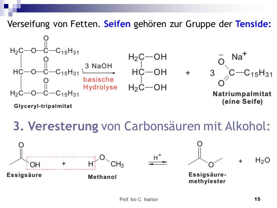 Prof. Ivo C. Ivanov15 Verseifung von Fetten. Seifen gehören zur Gruppe der Tenside: 3. Veresterung von Carbonsäuren mit Alkohol: