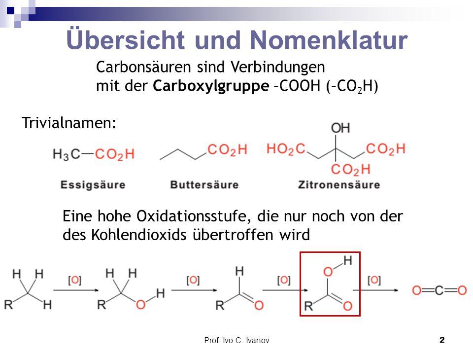 Prof. Ivo C. Ivanov2 Übersicht und Nomenklatur Carbonsäuren sind Verbindungen mit der Carboxylgruppe –COOH (–CO 2 H) Trivialnamen: Eine hohe Oxidation
