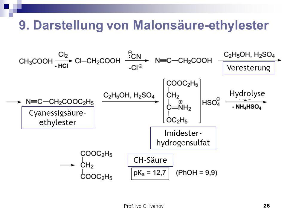Prof. Ivo C. Ivanov26 9. Darstellung von Malonsäure-ethylester CH-Säure Veresterung Cyanessigsäure- ethylester Imidester- hydrogensulfat Hydrolyse