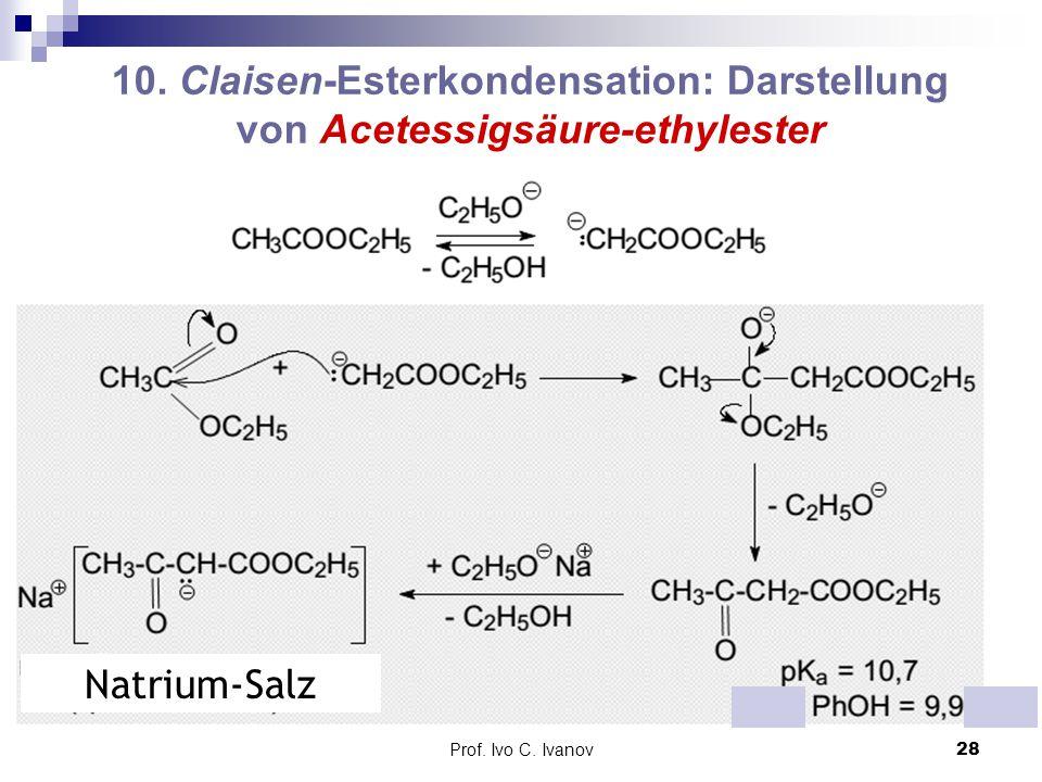 Prof. Ivo C. Ivanov28 10. Claisen-Esterkondensation: Darstellung von Acetessigsäure-ethylester Natrium-Salz