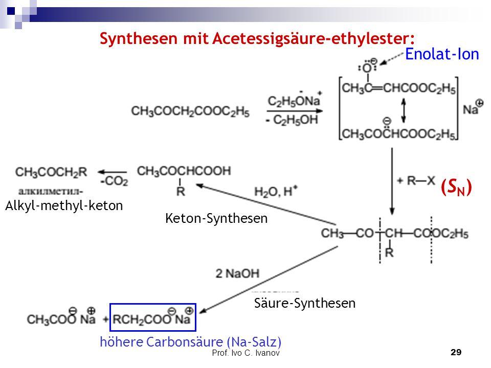 Prof. Ivo C. Ivanov29 Synthesen mit Acetessigsäure-ethylester: Enolat-Ion Alkyl-methyl-keton (SN)(SN) höhere Carbonsäure (Na-Salz) Keton-Synthesen Säu