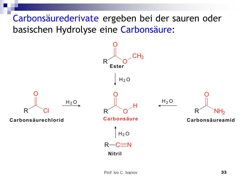 Prof. Ivo C. Ivanov33 Carbonsäurederivate ergeben bei der sauren oder basischen Hydrolyse eine Carbonsäure: