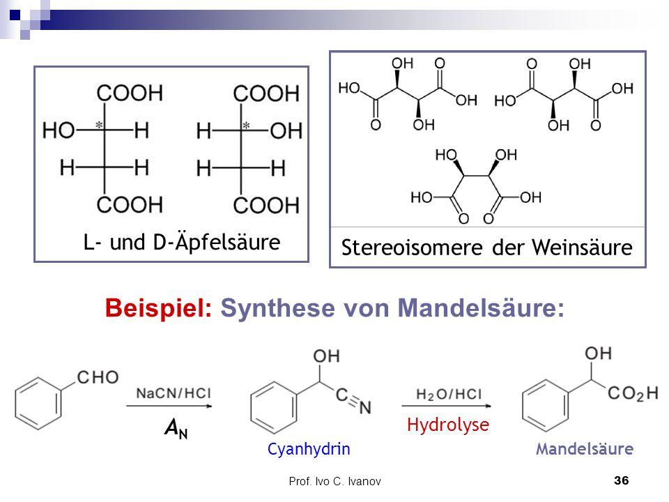 Prof. Ivo C. Ivanov36 Beispiel: Synthese von Mandelsäure: ANAN Hydrolyse L- und D-Äpfelsäure Stereoisomere der Weinsäure CyanhydrinMandelsäure