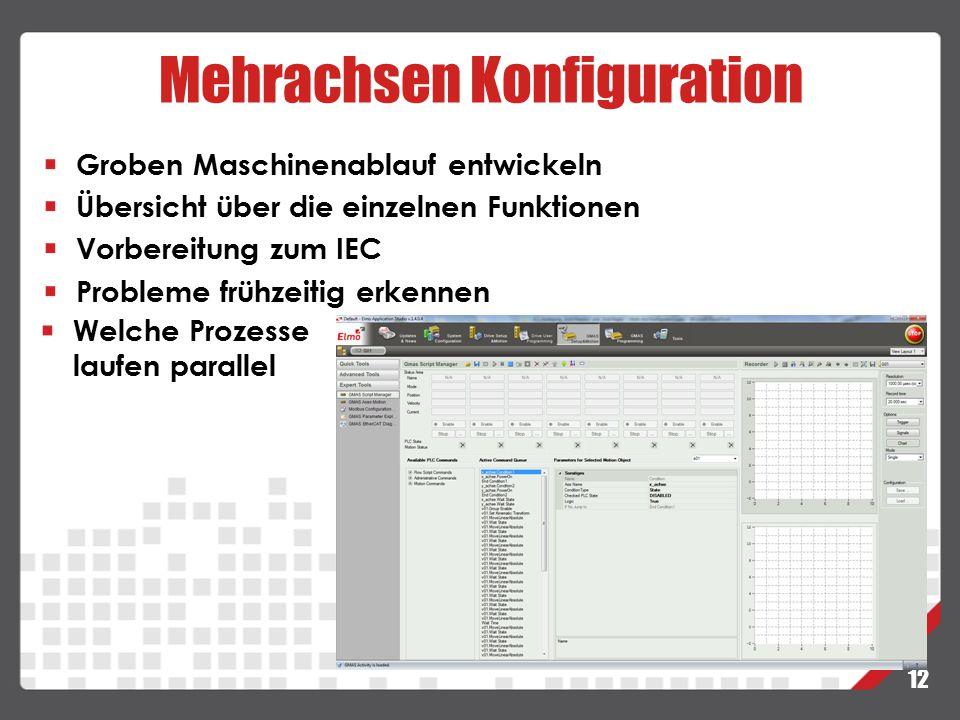 Mehrachsen Konfiguration 12 Groben Maschinenablauf entwickeln Übersicht über die einzelnen Funktionen Vorbereitung zum IEC Probleme frühzeitig erkenne