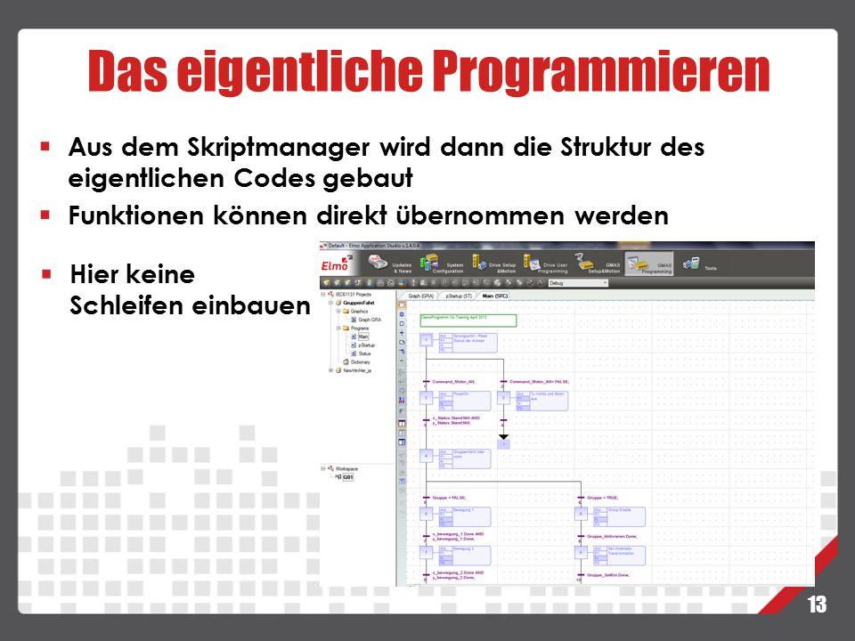 Das eigentliche Programmieren 13 Aus dem Skriptmanager wird dann die Struktur des eigentlichen Codes gebaut Funktionen können direkt übernommen werden