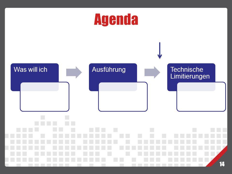 Agenda 14 Was will ichAusführungTechnische Limitierungen