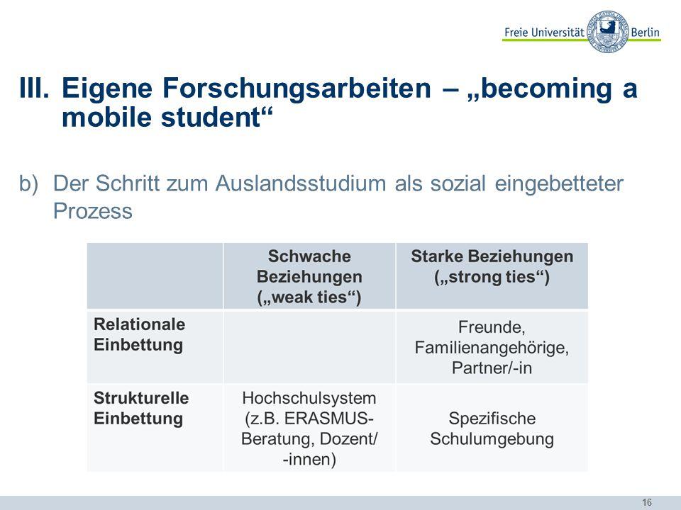 "16 III.Eigene Forschungsarbeiten – ""becoming a mobile student"" b)Der Schritt zum Auslandsstudium als sozial eingebetteter Prozess"