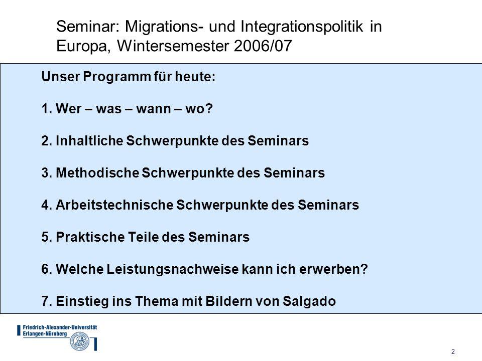 2 Unser Programm für heute: 1. Wer – was – wann – wo? 2. Inhaltliche Schwerpunkte des Seminars 3. Methodische Schwerpunkte des Seminars 4. Arbeitstech