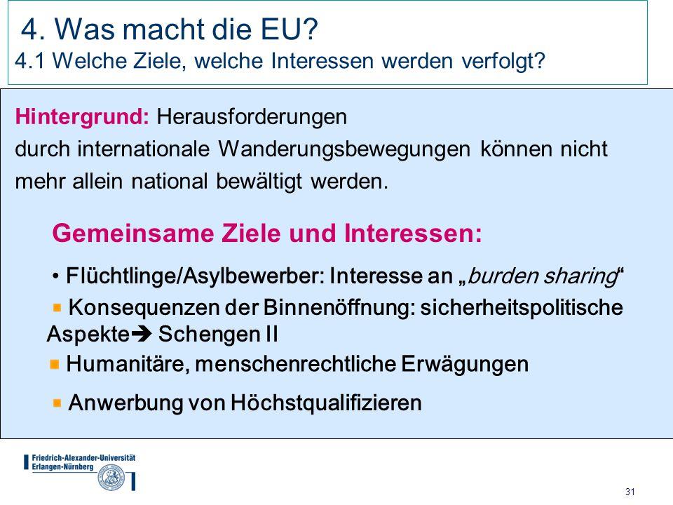 31 4. Was macht die EU? 4.1 Welche Ziele, welche Interessen werden verfolgt? Hintergrund: Herausforderungen durch internationale Wanderungsbewegungen