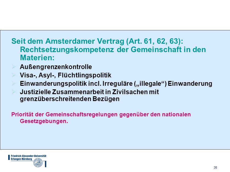 38 Seit dem Amsterdamer Vertrag (Art. 61, 62, 63): Rechtsetzungskompetenz der Gemeinschaft in den Materien:  Außengrenzenkontrolle  Visa-, Asyl-, Fl