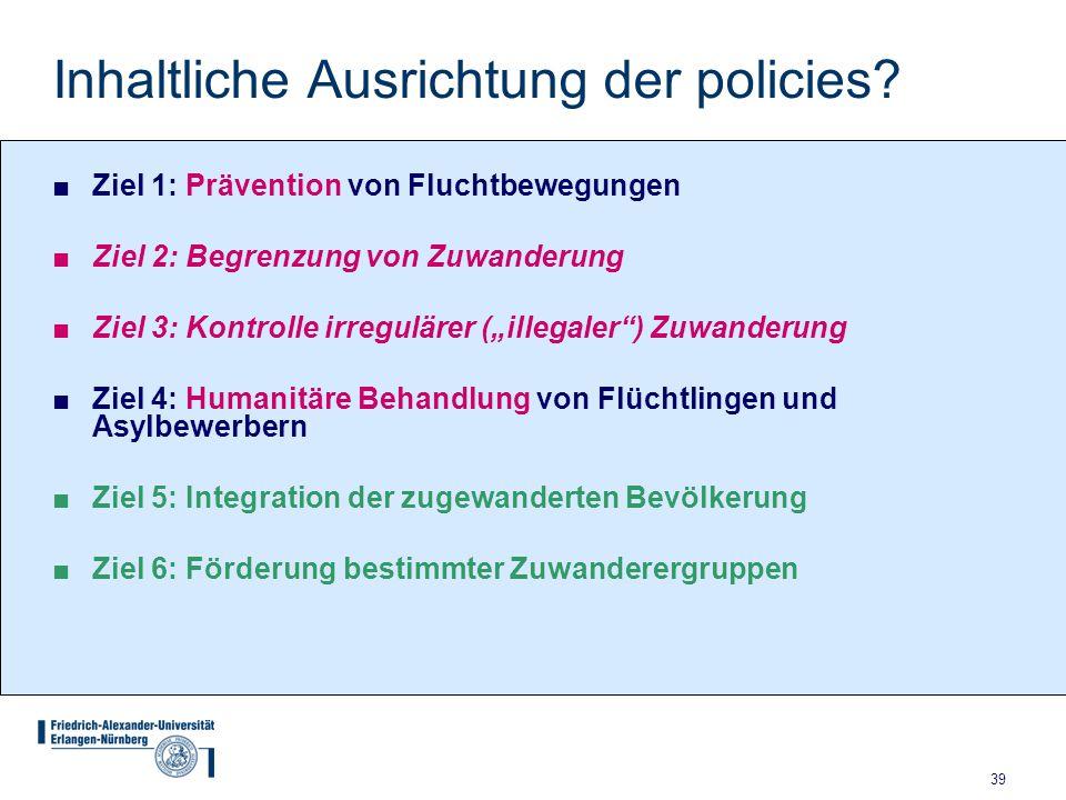 39 Inhaltliche Ausrichtung der policies? ■Ziel 1: Prävention von Fluchtbewegungen ■Ziel 2: Begrenzung von Zuwanderung ■Ziel 3: Kontrolle irregulärer (