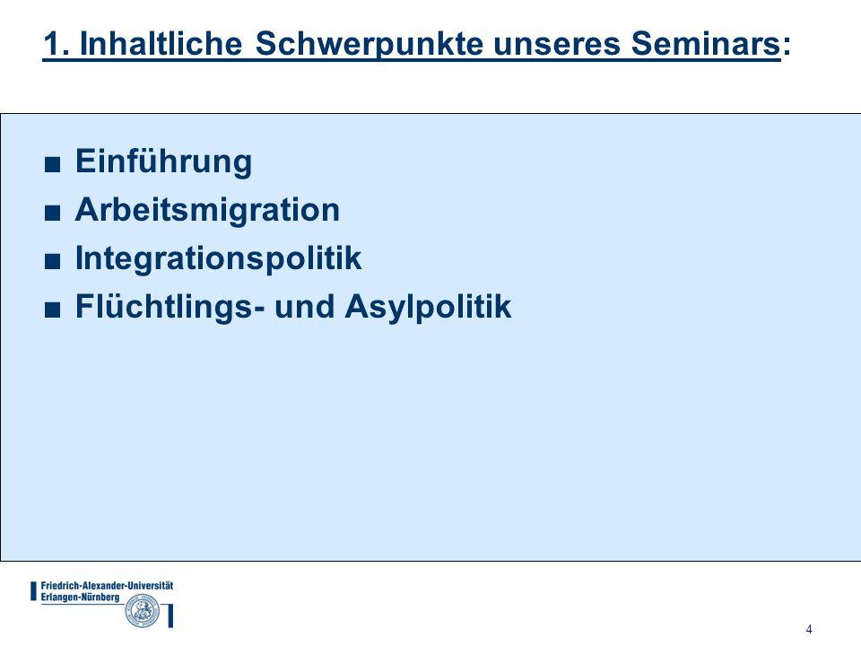 4 1. Inhaltliche Schwerpunkte unseres Seminars: ■Einführung ■Arbeitsmigration ■Integrationspolitik ■Flüchtlings- und Asylpolitik