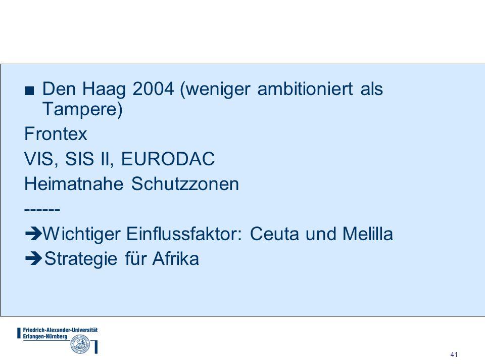 41 ■Den Haag 2004 (weniger ambitioniert als Tampere) Frontex VIS, SIS II, EURODAC Heimatnahe Schutzzonen ------  Wichtiger Einflussfaktor: Ceuta und