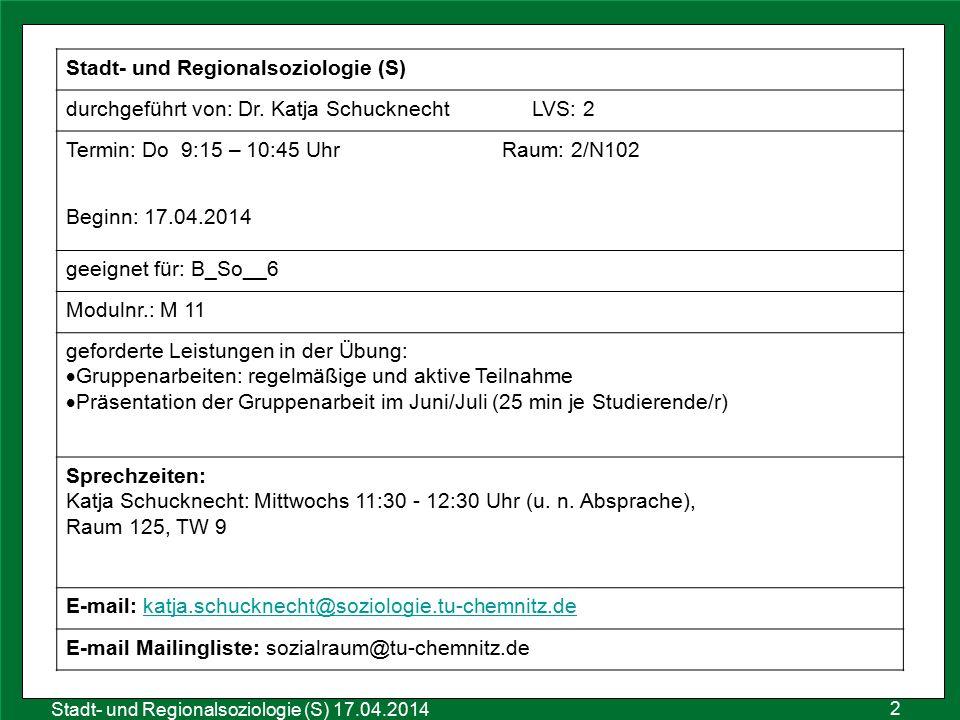 2 Sozialraumanalyse 25.10.2011 Stadt- und Regionalsoziologie (S) 17.04.2014 Stadt- und Regionalsoziologie (S) durchgeführt von: Dr. Katja Schucknecht