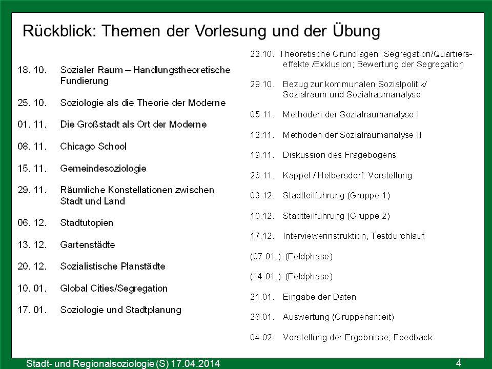 4 Sozialraumanalyse 25.10.2011 Stadt- und Regionalsoziologie (S) 17.04.2014 Rückblick: Themen der Vorlesung und der Übung