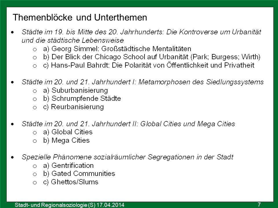 7 Sozialraumanalyse 25.10.2011 Stadt- und Regionalsoziologie (S) 17.04.2014 Themenblöcke und Unterthemen