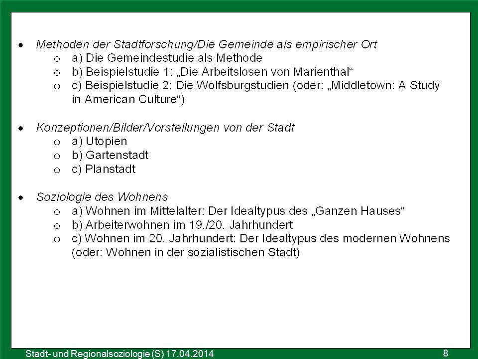 9 Sozialraumanalyse 25.10.2011 Stadt- und Regionalsoziologie (S) 17.04.2014 Gruppenaufgaben: Teilt die Unterthemen eures Themenblocks untereinander auf und tragt entsprechend eure Namen auf dem Aufgabenblatt ein.