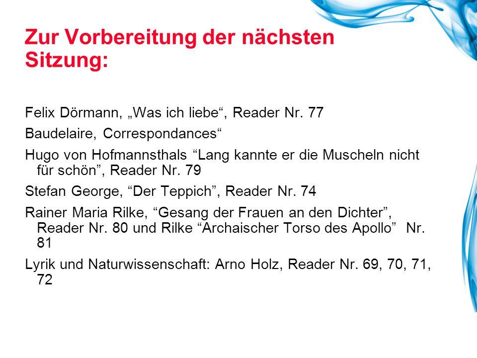"""Felix Dörmann, """"Was ich liebe"""", Reader Nr. 77 Baudelaire, Correspondances"""" Hugo von Hofmannsthals """"Lang kannte er die Muscheln nicht für schön"""", Reade"""