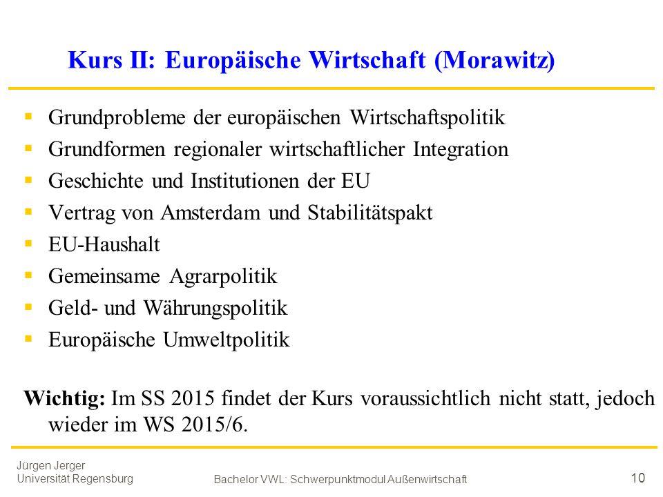 Jürgen Jerger Universität Regensburg Bachelor VWL: Schwerpunktmodul Außenwirtschaft 10 Kurs II: Europäische Wirtschaft (Morawitz)  Grundprobleme der