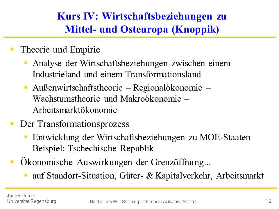 Jürgen Jerger Universität Regensburg Bachelor VWL: Schwerpunktmodul Außenwirtschaft 12 Kurs IV: Wirtschaftsbeziehungen zu Mittel- und Osteuropa (Knopp