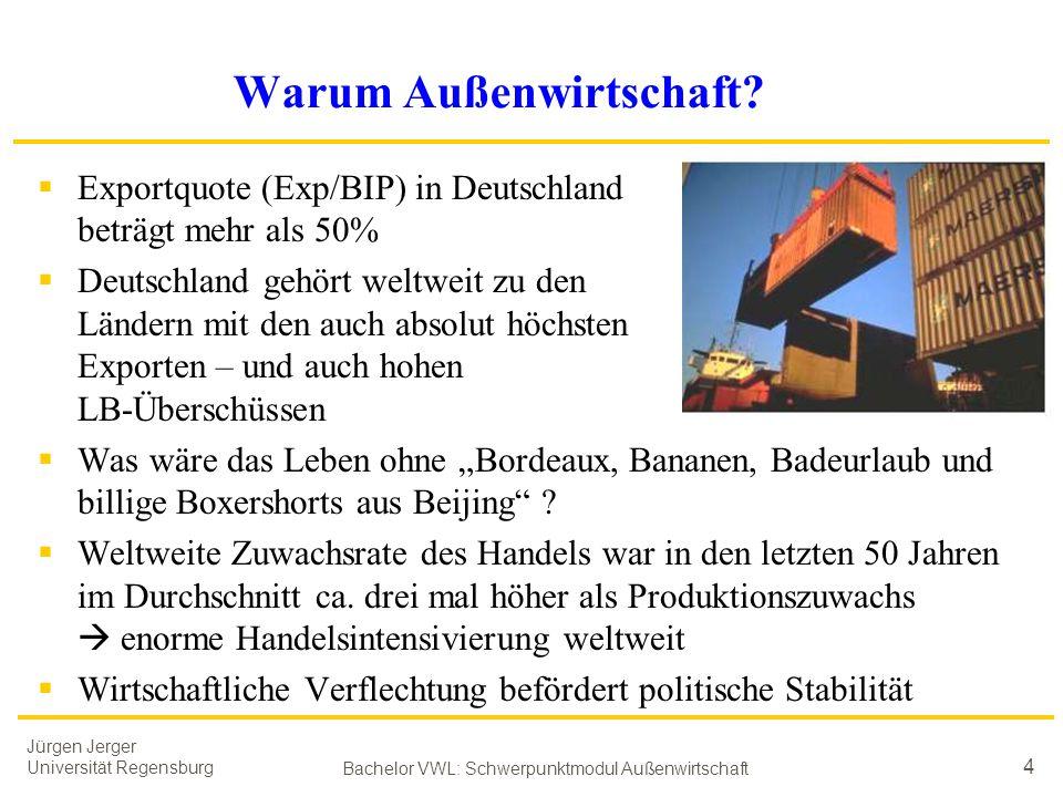 Jürgen Jerger Universität Regensburg Bachelor VWL: Schwerpunktmodul Außenwirtschaft 4 Warum Außenwirtschaft?  Exportquote (Exp/BIP) in Deutschland be