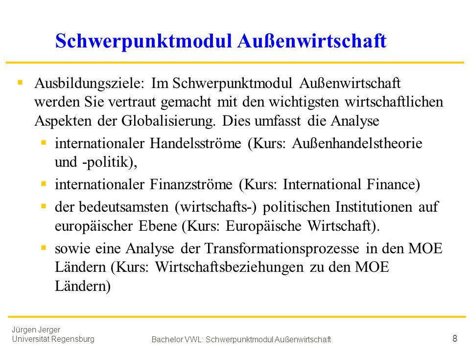 Jürgen Jerger Universität Regensburg Bachelor VWL: Schwerpunktmodul Außenwirtschaft 8 Schwerpunktmodul Außenwirtschaft  Ausbildungsziele: Im Schwerpu