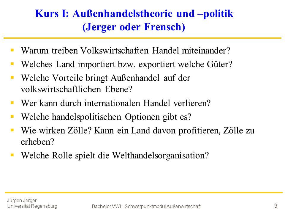 Jürgen Jerger Universität Regensburg Bachelor VWL: Schwerpunktmodul Außenwirtschaft 9 Kurs I: Außenhandelstheorie und –politik (Jerger oder Frensch) 