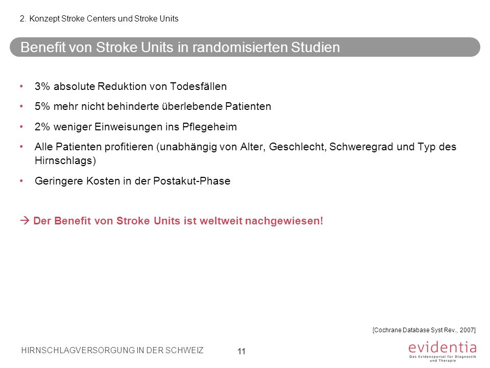 Benefit von Stroke Units in randomisierten Studien 11 2.