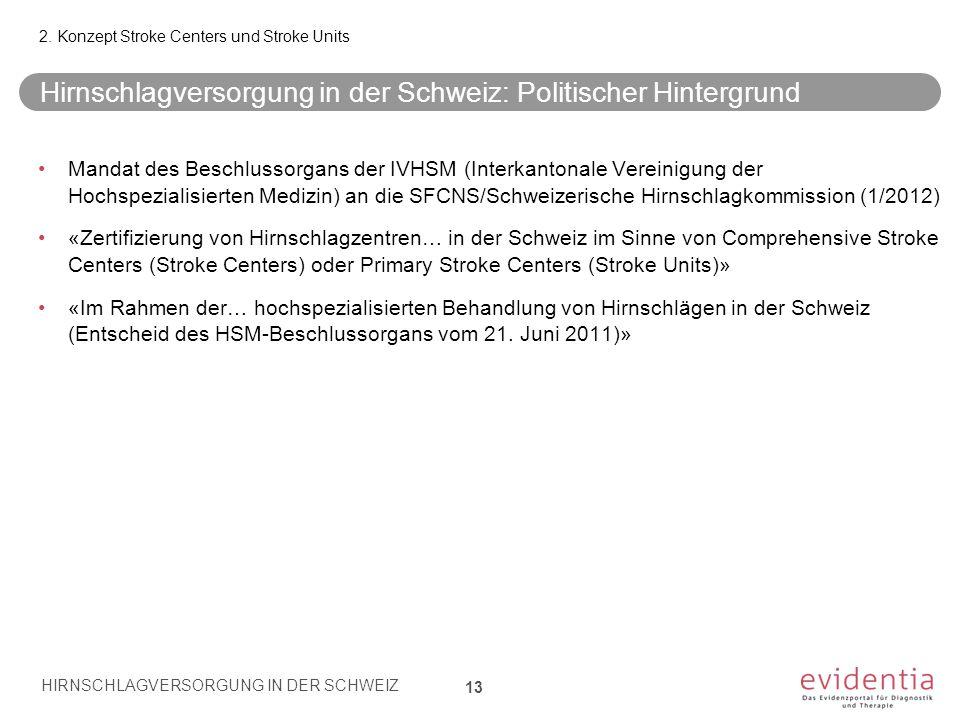 Hirnschlagversorgung in der Schweiz: Politischer Hintergrund 13 Mandat des Beschlussorgans der IVHSM (Interkantonale Vereinigung der Hochspezialisiert