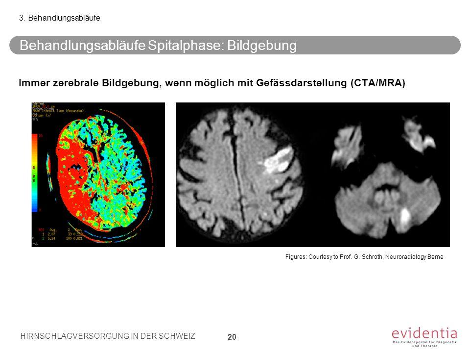 Behandlungsabläufe Spitalphase: Bildgebung 20 3. Behandlungsabläufe Immer zerebrale Bildgebung, wenn möglich mit Gefässdarstellung (CTA/MRA) Figures: