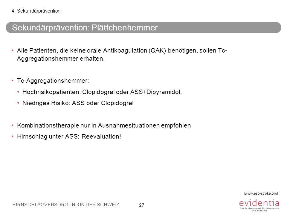 Sekundärprävention: Plättchenhemmer 27 4. Sekundärprävention Alle Patienten, die keine orale Antikoagulation (OAK) benötigen, sollen Tc- Aggregationsh